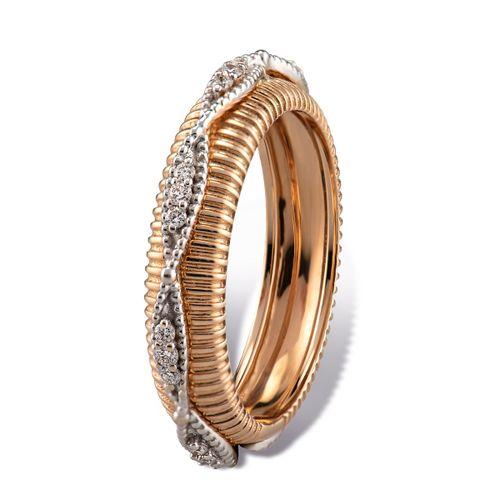 MORAGLIONE 1922 Sahara anello giro oro rosa rigato e diamanti kt.0.23