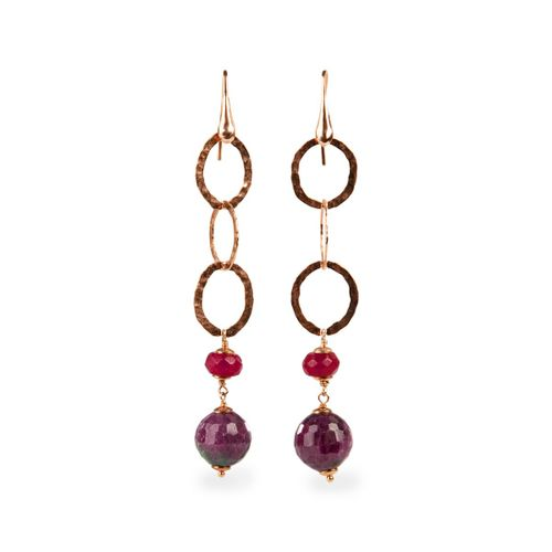 MIDI JEWELS orecchini con zoisite, radice di rubino, argento 925 martellato con bagno d'oro rosa
