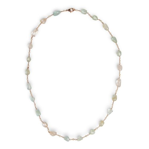 "MIDI JEWELS collana con acquamarina morganite ""a rosario"" con perle"