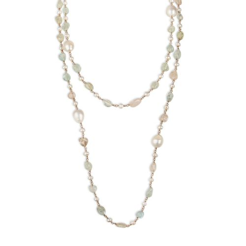 "MIDI JEWELS collana acquamarina morganite ""a rosario"" con perle"