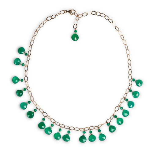 MIDI JEWELS collana girocollo con avventurina verde, catena in argento 925 bagno d'oro rosa