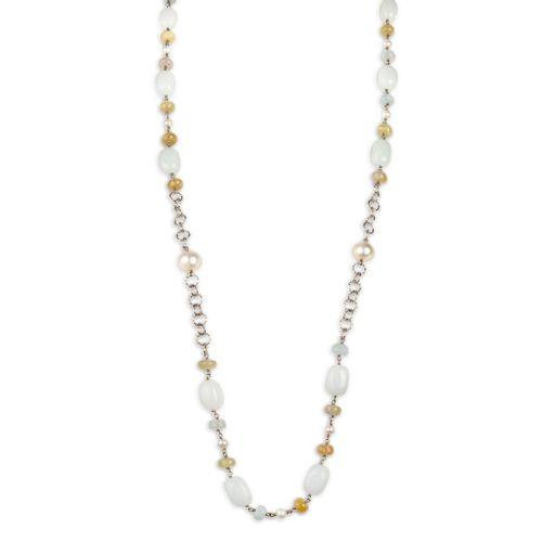 MIDI JEWELS collana con acquamarina, perle, catena argento 925