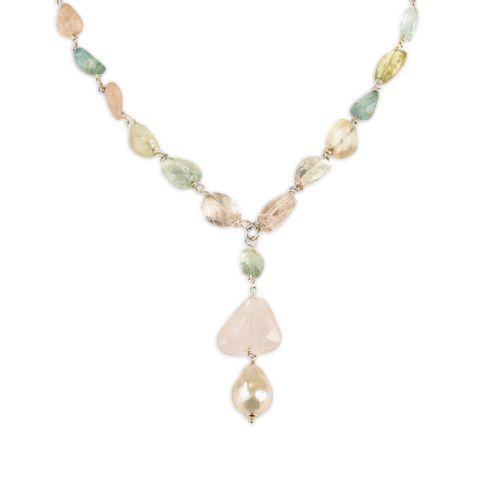 MIDI JEWELS collana girocollo con acquamarina con perla barocca e pendente