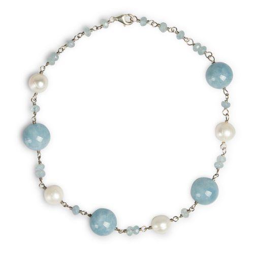"""MIDI JEWELS collana con sfere di acquamarina milk  """"a rosario"""" con perle"""