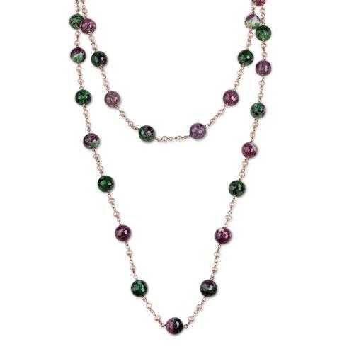 MIDI JEWELS collana lunga con zoisite, perle rosa, argento 925 bagno d'oro rosa