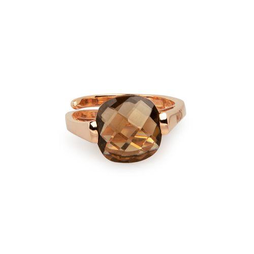MIDI' JEWELS anello con topazio fumè nuance miele in argento 925 con bagno d'oro rosa