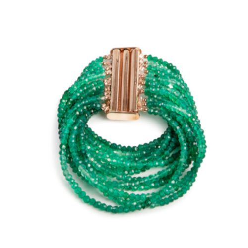 MIDI JEWELS bracciale 12 fili in agata verde sfumata
