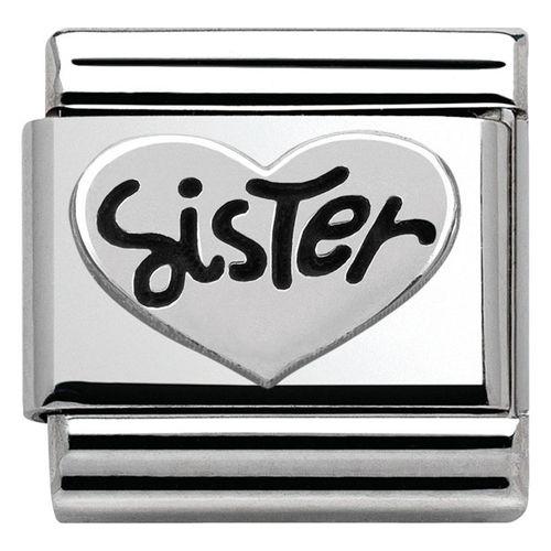 NOMINATION Composable Classic Simboli Ossidati Acciaio e Argento Cuore Sister