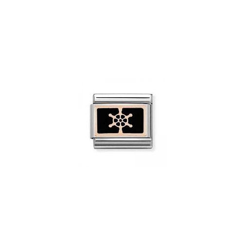 NOMINATION Composable Classic Simboli Acciaio Oro 375 - Timone Nero