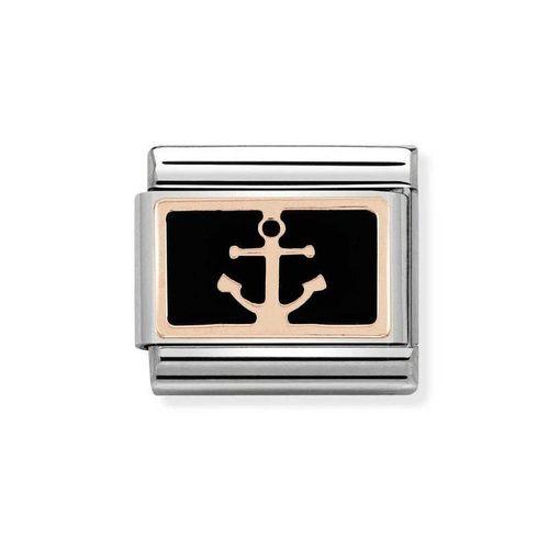 NOMINATION Composable Classic Simboli Acciaio Oro 375 - Ancora Nero