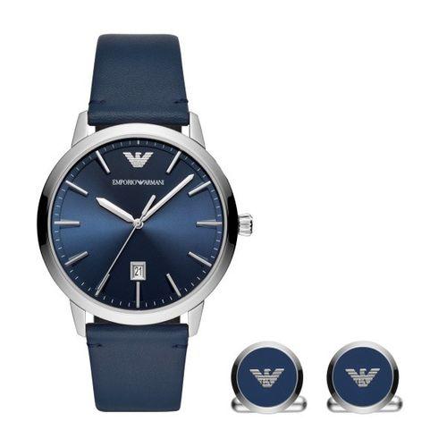 Emporio Armani kit Ruggero orologio e gemelli blue