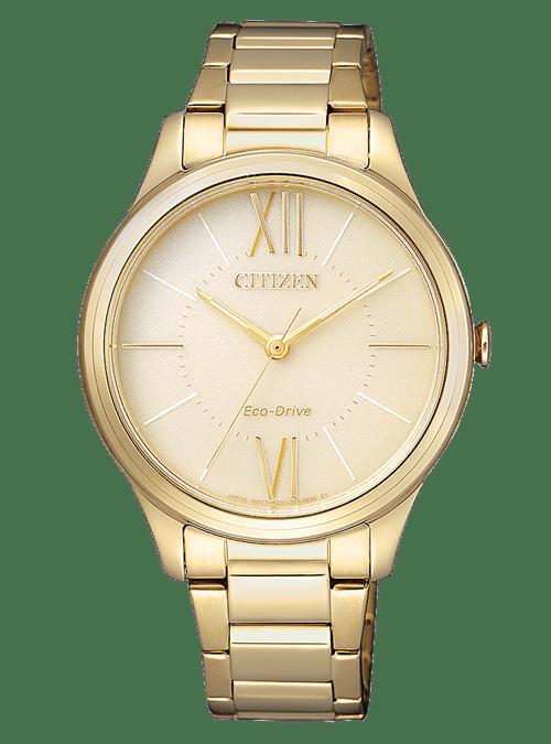 CITIZEN orologio donna in acciaio color oro con cassa color ocra chiaro