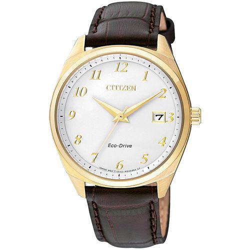 CITIZEN orologio uomo bianco con cinturino marrone scuro