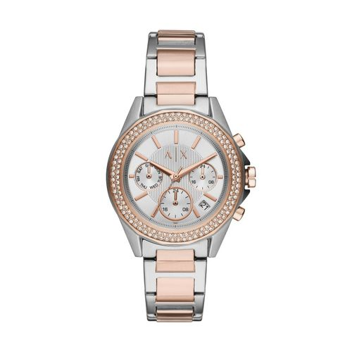 Armani Exchange Orologio Donna Lady Drexler Chrono Silver & Rose + zirconi in acciaio AX5653