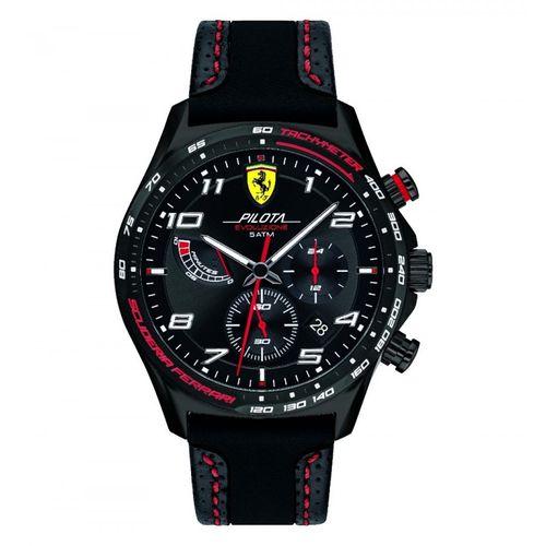 Orologio Ferrari Pilota Evo Chrono in acciaio e cinturino in pelle nera FER0830717