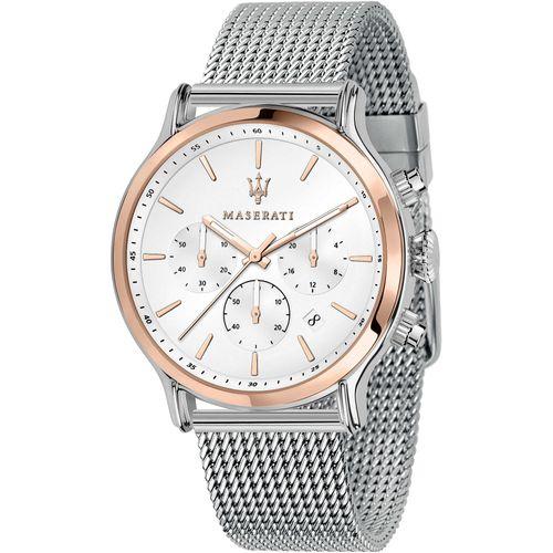 Maserati Orologio Cronografo in acciaio bianco rosato cinturino mesh R8873618009