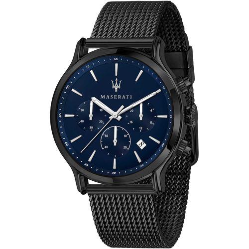 Maserati Orologio Cronografo Nero con quadrante blu e maglia mesh R8873618008
