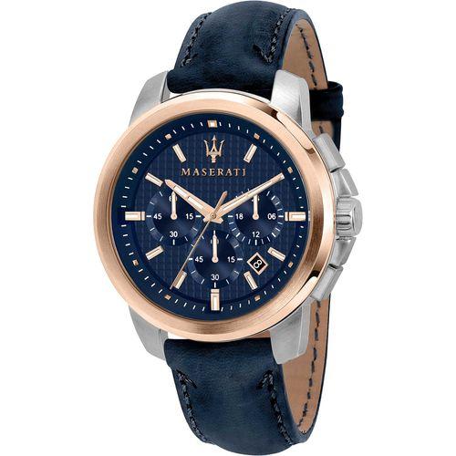 Maserati Orologio Cronografo in acciaio rosato con cinturino  Blu R8871621015