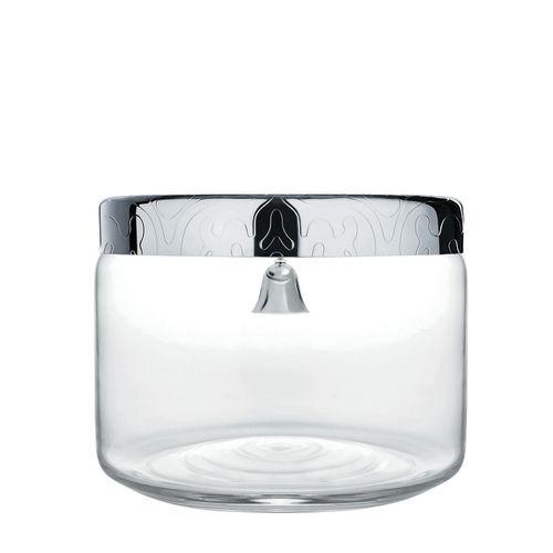 ALESSI Dressed Biscottiera in vetro con coperchio in acciaio inox e campanella