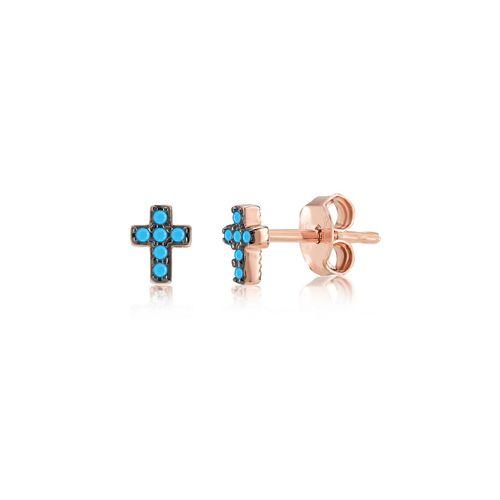 Kurshuni Orecchini Mini Cross Rose Gold KY427-300RS